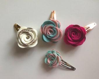 Double color flower clip