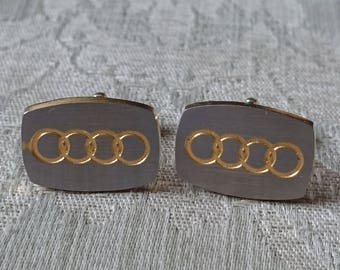 Men's cufflinks - Vintage Style Cufflinks - Audi Cufflinks Silver and Gold Tone  Cufflinks                                               .