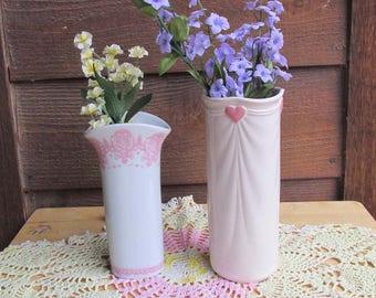 Wedding Vase Set | 1980s Glassware