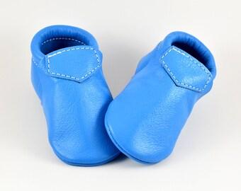 Baby Moccasins Fringeless Cool Ultra Light Blue Loafer Genuine Leather Toddler Newborn Boy Girl Handmade Soft Soled Shoes Prewalker
