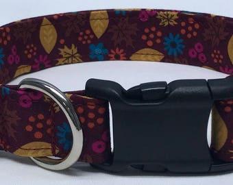 dog collar, Burgundy leaves, fall, fall dog collar, autumn, autumn dog collar, autumn collar