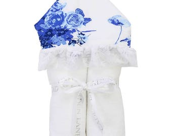 Juliet's Floral and Lace | Full Size Toddler Hooded Towel | Blue Floral with Lace | Baby Shower Gift | Girl Shower Gift