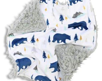 Woodland Bear Minky Baby Boy Lovey | Mint & Navy Fox Security Blanket | Mini Baby Blanket | Faux Fur Lovie