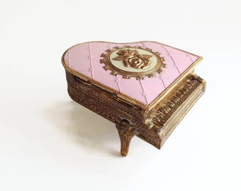 Vintage Jewelry Box - Piano Box - Hollywood Regency - Gold Ormolu Enameled Metal Box - Dresser Box made in Japan - Grand Piano