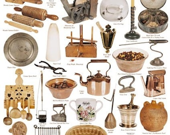 Giftwrap / Poster Print - Items from 18th & 19th Century Kitchen - 700 x 500mm