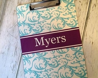 SALE Custom Design Personalized Monogram CLIP BOARD - 2 Sided Personalization - Teacher Gift, Coach Gift - Clipboard Design Your Own