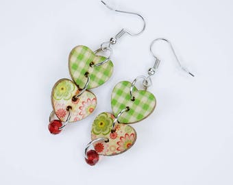Earrings Heart green with flowers, checkered pattern and red pearl on silver earrings