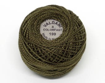 Valdani Pearl Cotton Thread Size 8 Solid: #199 Dark Olive Green