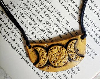 Golden Moon Phase Necklace.