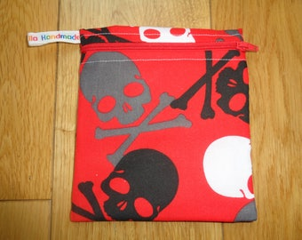 Snack Bag - Bikini Bag - Lunch Bag - Make Up Bag Small Poppins Waterproof Lined Zip Pouch - Sandwich bag  Eco - Grey Whote Black Skull Red