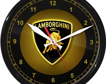 "12"" Lamborghini Wall Clock Garage Work Shop Gift Father's Day Man Cave Rec Room"
