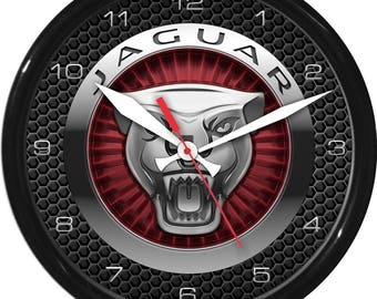 "10"" Jaguar 2 Wall Clock Garage Work Shop Gift Father's Day Man Cave Rec Room"