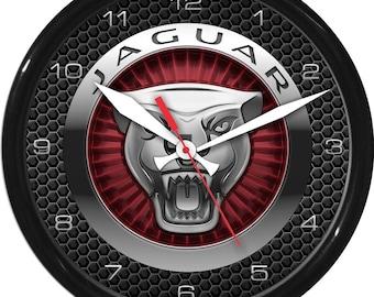 "12"" Jaguar 2 Wall Clock Garage Work Shop Gift Father's Day Man Cave Rec Room"