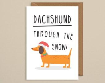 Christmas card funny.dog christmas card.Dachshund through the snow.christmas carol.dog pun card.xmas cards.christmas card pack.set.boyfriend