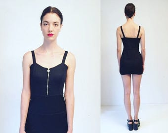WEEKEND40%OFF Vtg Gianni Versace Versus Black Stretchy Mini Dress