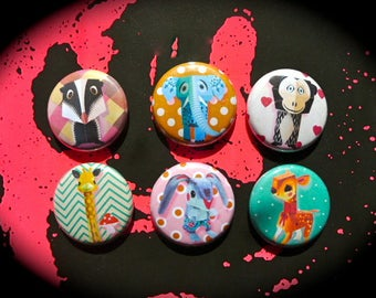 Set of 6 Badges 'Animals'