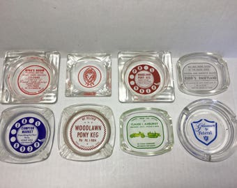 Clear Glass Advertising Ashtrays, 8 Vintage Glass Ashtrays