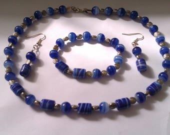 blue swirl glass bead necklace set