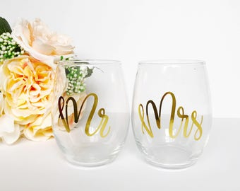 Mr & Mrs Stemless Wine Glasses - Wine Glass, Mr and Mrs, Wedding Gift
