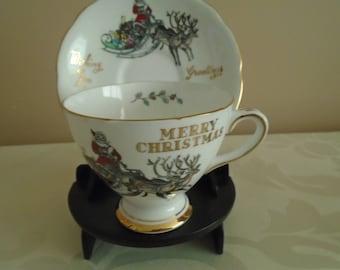 merry Christmas bone china cup and saucer Santa and reindeer