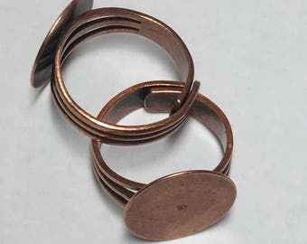 Ring blank, adjustable with flat disc, antique copper plate, 1 piece, RNG3ACP