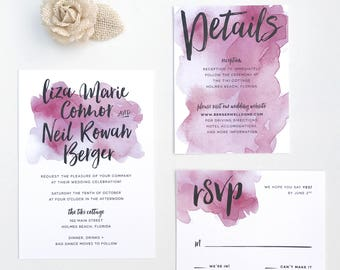 Watercolor Splash Wedding Invites / Burgundy Red / Hand Brush Lettering / Semi-Custom Wedding Invitation Suite / Print-at-Home Invitations