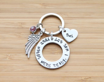hand stamped keychain | your wings were ready, i was not