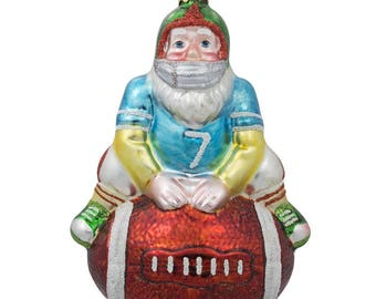 "5"" Santa Claus Football Player Sports Ball Glass Christmas Ornament"