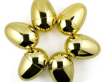 "2.25"" Set of 6 Very Shiny Golden Plastic Easter Eggs"