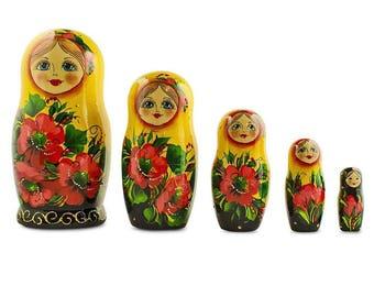 6.5'' Set of 5 Yellow Scarf Poppy Flowers Matryoshka Russian Nesting Dolls