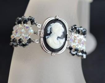 Swarovski crystal bracelet mega-large crystal ab2x and hematite 2x