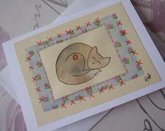 Cat Card, Cat Birthday Card, Black Cat Card, Cat Greetings Card, Cute Cat Card, Crazy Cat Lady, Cat Illustration, Handmade Watercolour