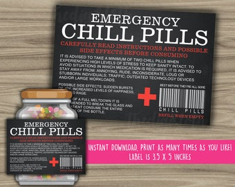 Chill Pills Printable Chalkboard Label - Funny Gift - INSTANT DOWNLOAD - Christmas Gift For Boss - CoWorker - Work Office Gag Gift - PL15