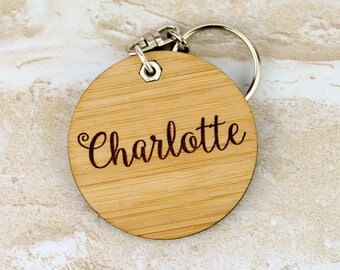 Personalised Wooden Keychain Keyring Key Ring Bag Tag Engraved