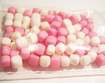 ♥ 100 miniature Marshmallow Fimo polymer clay for jar ♥