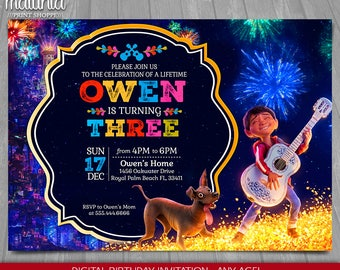 Coco Invitation - Disney Pixar Coco Invite - Miguel Dante Coco Birthday Printed or Printable Invitation - Coco Birthday Party (COIN02)