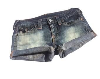 True religion designer destroyed and distressed Denim shorts women's size 28