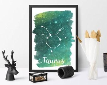 Watercolour, Taurus, Zodiac print, personalised, astrology wall art, home decor, personalised gift, digital download, Printable,