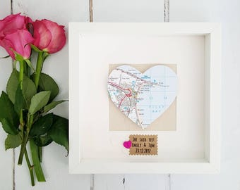 Heart Map Frame/Engagement Frame/Wedding Frame/Gifts for Couples/New Home Frame/Wedding Gift/Engagement Map Frame/Couples Engagement Gift