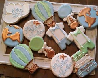 World Travel Boy Baby Shower Cookies   One Dozen