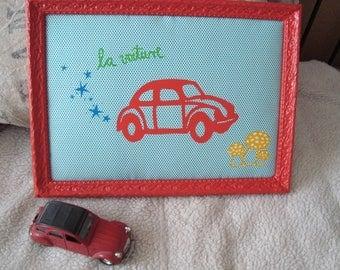 Frame decorative fabric red car