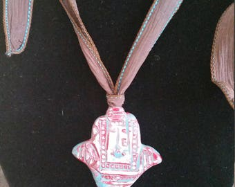 Hamsa Red White and Blue Necklace