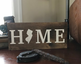 State home signs, home sign, i love nj, home sweet home, housewarming gift sign, home wall decor, home wall hangings, nj home sign