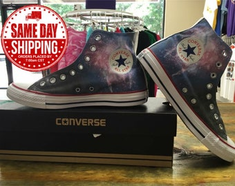 Custom Shoes Galaxy Space Custom Converse All Stars Chuck Taylor Shoes offered in Men's and Women's Sizes with Same Day Shipping.