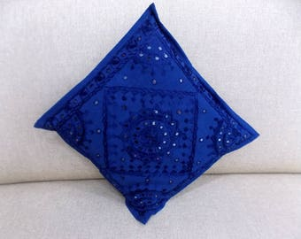 Indian Pure Cotton Cushion Cover Home Mirror Work Decorative Blue Color Size 17x17""