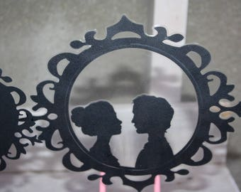 Name and groom silhouette cake topper