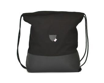 Black black, imitation leather, festival bag, backpack, black cotton