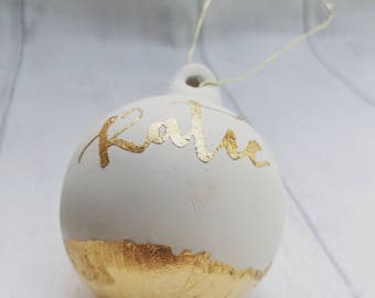Personalised gold bauble, christmas bauble, gold leaf xmas decs, ceramic decor, tree decoration, custom made, cream and gold, unique gift
