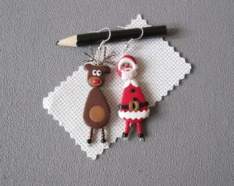 Santa Claus and his reindeer earrings, Father christmas earrings, Christmas theme earrings, Santa Claus jewelry, funny christmas earrings