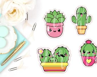 Kawaii Cactus & Succulent Die Cut Characters